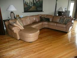 Laminated Floor Awesome Brown Leather Sectional Couch Sofa With Cushion And