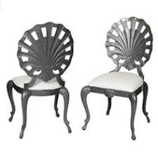 Patio Furniture Upholstery Hollywood Regency Grotto Shell Back Patio Chairs Seashell
