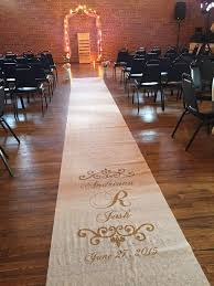 burlap wedding aisle runner wedding aisle runner custom painted white ivory or burlap