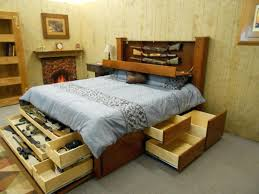 Wood Bed Frame With Drawers Plans Linen Bed Frame About Diy Woodworking Full Size Storage Bed Plans