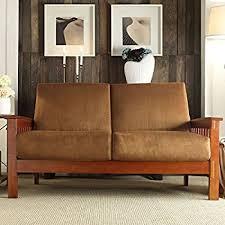 amazon com loveseat furniture solid wood frame with dark oak