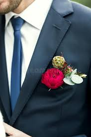 Red Rose Boutonniere Picture Of Groom With Blue Tie And Red Rose Boutonniere On Wedding