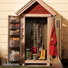 how to hang tools in shed garden closet storage project family handyman