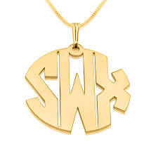gold plated monogram necklace 3 letters block gold monogram necklace open
