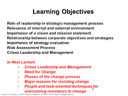 objectives of mission statement strategic leadership and managing crises and change ppt download learning objectives role of leadership in strategic management process
