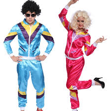 Mens 80s Halloween Costumes 80s Scouser Tracksuit Shell Suit Men Blue Womens Pink Fancy Dress