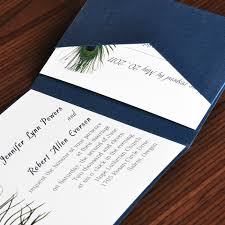 affordable pocket wedding invitations unique peacock white and blue pocket wedding invites with response