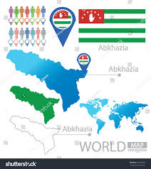 map of abkhazia republic abkhazia flag world map vector stock vector 152650358