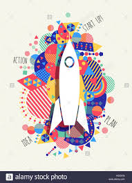 space rocket icon startup business concept design with vibrant