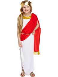 Mythical Goddess Girls Costume Girls Costume Girls Greek Goddess Costume Roman Toga Red Cape Book Week Child