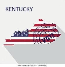 kentucky flag map state kentucky vector graphic map flag stock vector 486481483