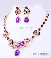 purple gold necklace images Retail delicate purple fashion high quality wedding jewelry sets jpg