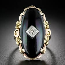 tricolor ring vintage onyx tri color gold and diamond ring
