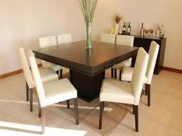 modern minimalist square wood dining table design with white
