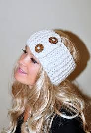 crochet ear warmer headband earwarmer buttons winter wool crochet headband chunky ear