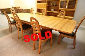 scandia teak dining table and 8 chairs 2 leafs 130