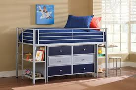 bedroom modern kids loft bed with desk using stainless steel