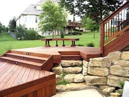 Tiered Backyard Landscaping Ideas Multi Level Decks And Patios Multi Level Ipe Deck With