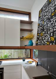 Design Of A Kitchen In This Kitchen A Long Letterbox Window Has Been Used In Place Of
