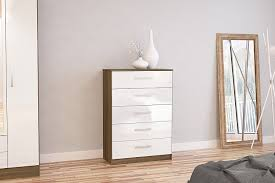 High Gloss White Bedroom Furniture by Birlea Lynx 5 Drawer Chest High Gloss Walnut And White Amazon