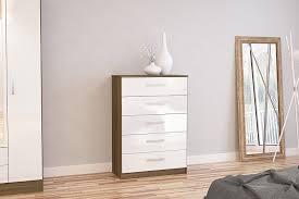 White Gloss Bedroom Furniture Birlea Lynx 5 Drawer Chest High Gloss Walnut And White Amazon