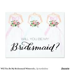 dress invitations will you be my bridesmaid watercolor dress bouquet 4 25x5 5 paper