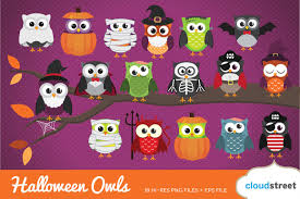 halloween owls clip art illustrations creative market