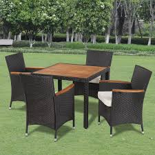 Rattan Patio Dining Set by Vidaxl Poly Rattan Garden Dining Set With 4 Chairs And Table With