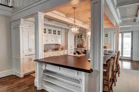country style white wooden kitchen counter polished dark brown