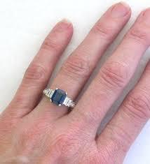 sapphire emerald cut engagement rings vintage style emerald cut sapphire ring in 18k white gold