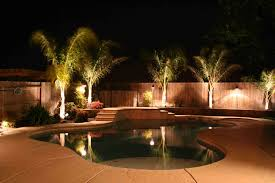 lighting palm trees with outdoor lighting and stone pavers
