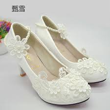 pearl wedding shoes aliexpress buy 2017 new white lace pearl wedding shoes