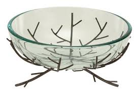 glass bowl with stand globe imports