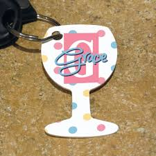 wine glass keychain personalized key ring gifts personalized key chains by
