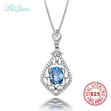 sted necklace aliexpress buy l zuan s925 silver 2 26ct circle blue