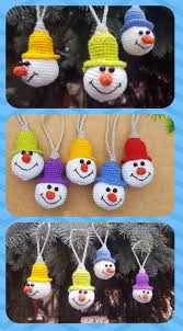 vw snowman crochet christmas ornament tree decorations snowman ornament set