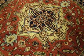 Round Red Rugs Traditional Oriental 8 U0027 Round Red Heriz Serapi Hand Knotted Wool