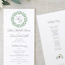 where to get wedding programs printed greenery wedding programs paperwhites wedding invitations