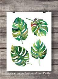 printable art watercolor monstera leaves fruit salad plant
