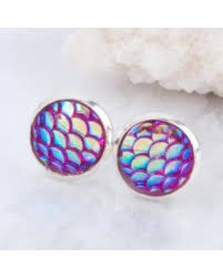 purple stud earrings don t miss this deal on beverly silver mermaid skin stud
