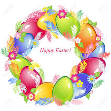easter wreath with eggs feathers and flowers royalty free