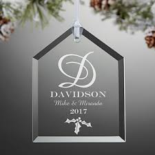engraved glass ornaments family monogram