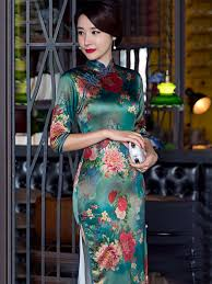 red peony floral vintage green long traditional chinese dress