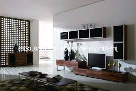 living room tv wall design brown stripes rug white leather cushion