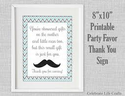 Mustache Home Decor Baby Shower Printable Thank You Favor Sign Printable Baby