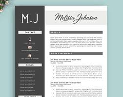 Templates For Professional Resumes Resume Template Etsy