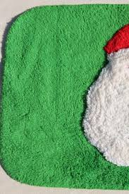 Santa Claus Rugs Green U0026 Red Rug W Santa Claus Soft Pile Bath Mat Or Holiday