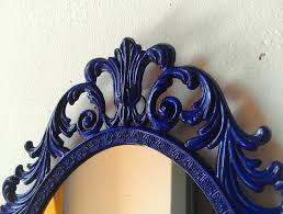 ornate mirror in vintage 13 by 10 inch hand painted cobalt