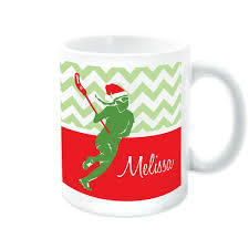 girls lacrosse coffee mug personalized lax with santa hat