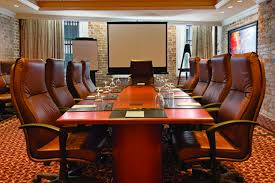 Modern Conference Room Design by Rectangular Read Polished Teak Wood Conference Table Room With